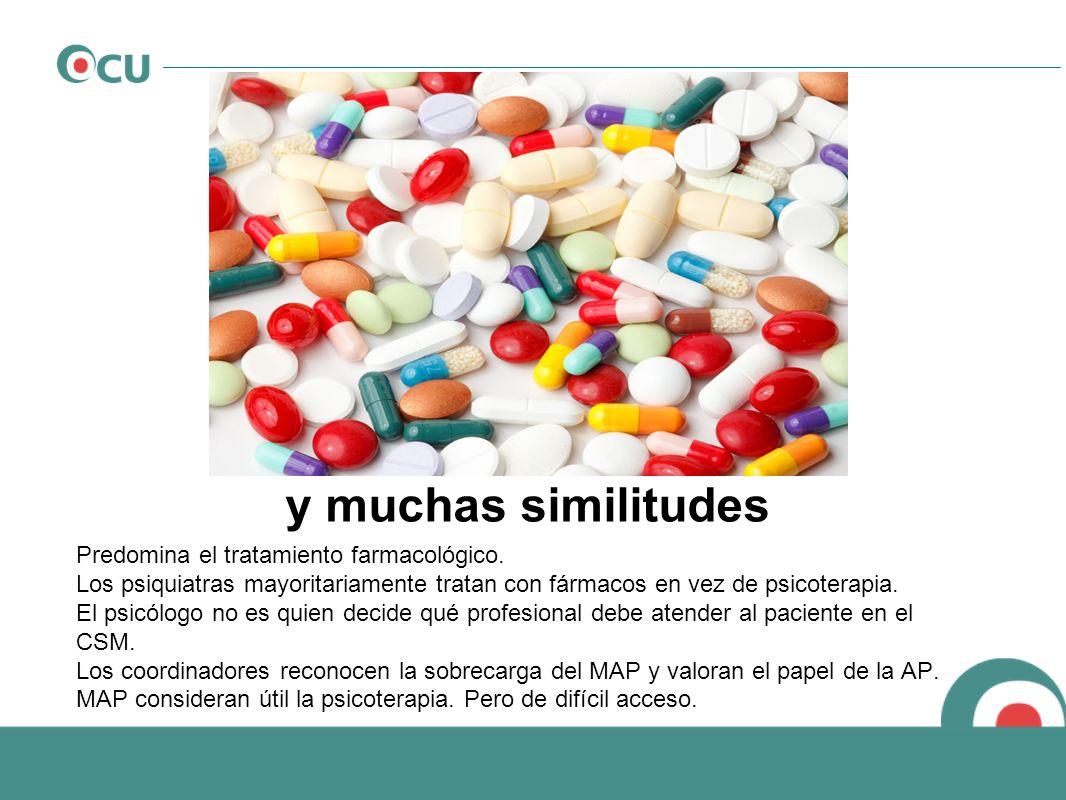 Predomina el tratamiento farmacológico. Los psiquiatras mayoritariamente tratan con fármacos en vez de psicoterapia. El psicólogo no es quien decide q