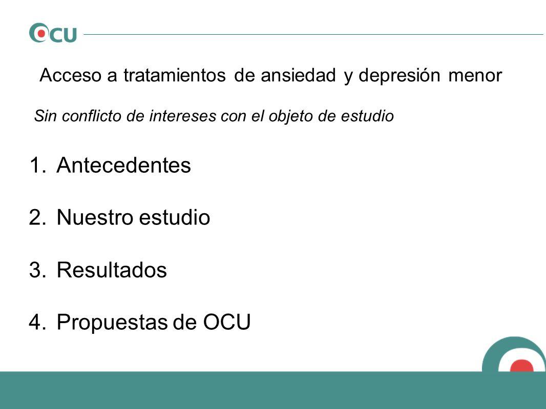 Acceso a tratamientos de ansiedad y depresión menor Sin conflicto de intereses con el objeto de estudio 1.Antecedentes 2.Nuestro estudio 3.Resultados
