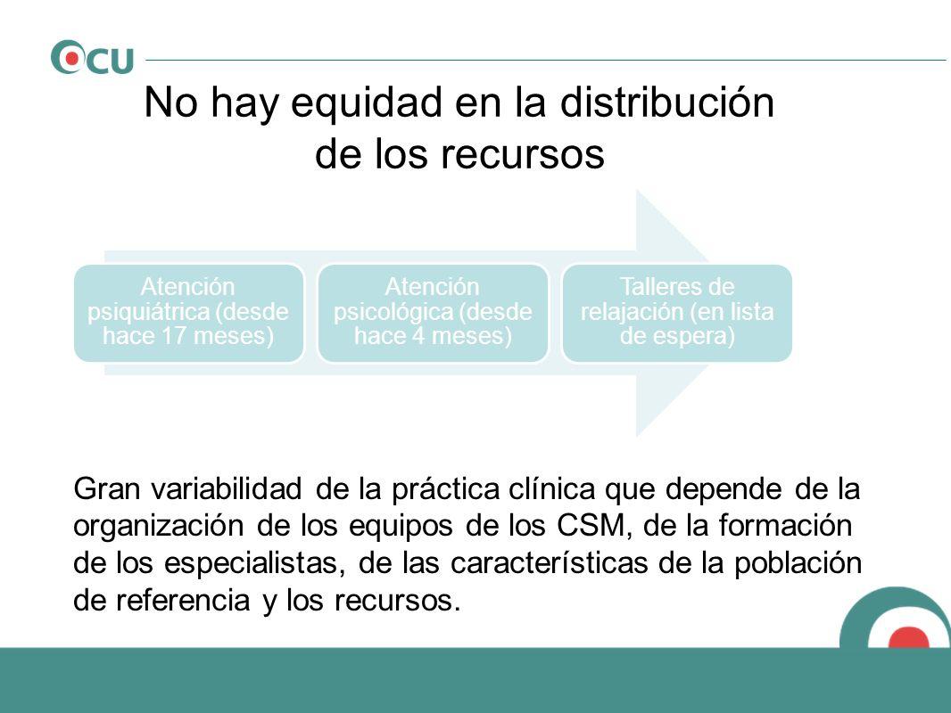 No hay equidad en la distribución de los recursos Atención psiquiátrica (desde hace 17 meses) Atención psicológica (desde hace 4 meses) Talleres de re