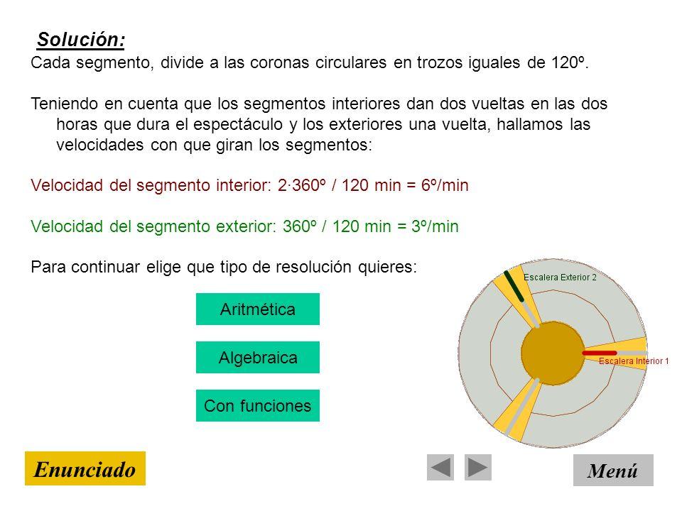 Solución: Menú Enunciado Cada segmento, divide a las coronas circulares en trozos iguales de 120º. Teniendo en cuenta que los segmentos interiores dan