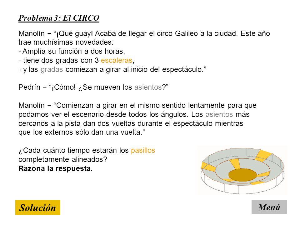 Solución Menú Problema 3: El CIRCO Manolín ¡Qué guay.