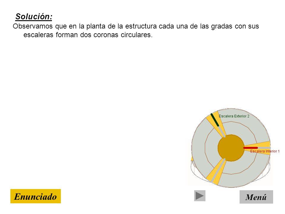 Tipo de resolución: CON FUNCIONES Menú Enunciado Cada segmento, divide a las coronas circulares en trozos iguales de 120º.