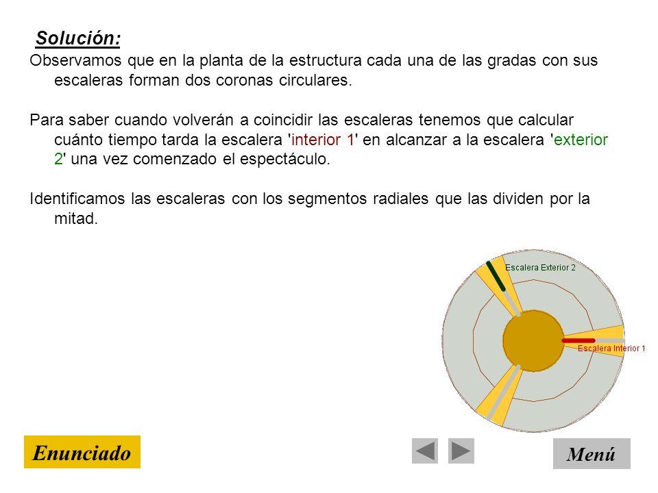 Solución: Menú Enunciado Observamos que en la planta de la estructura cada una de las gradas con sus escaleras forman dos coronas circulares. Para sab