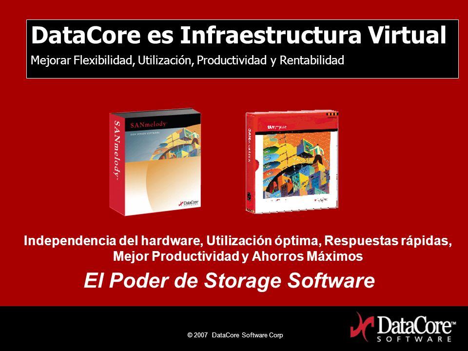 © 2007 DataCore Software Corp DataCore Software Proprietary Information DataCore es Infraestructura Virtual Mejorar Flexibilidad, Utilización, Product