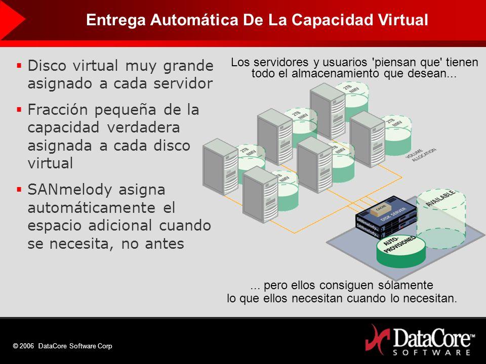 © 2006 DataCore Software Corp Disco virtual muy grande asignado a cada servidor Fracción pequeña de la capacidad verdadera asignada a cada disco virtu