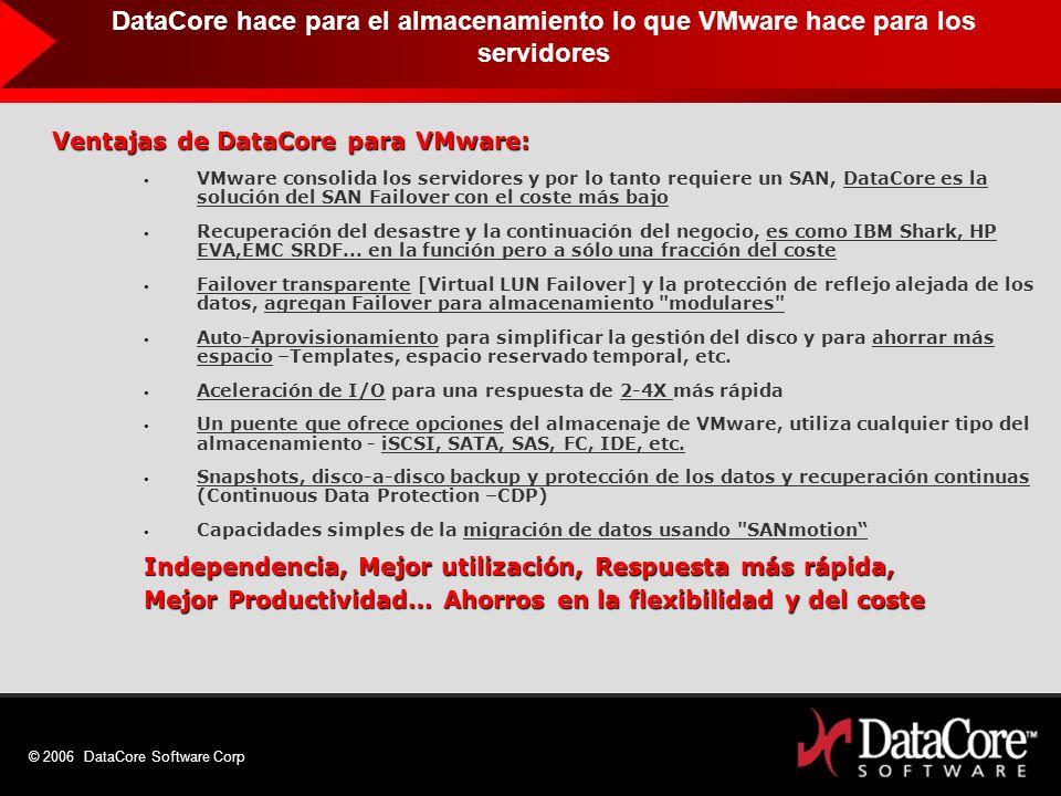 © 2006 DataCore Software Corp Ventajas de DataCore para VMware: VMware consolida los servidores y por lo tanto requiere un SAN, DataCore es la solució