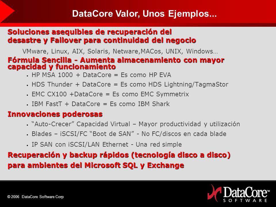 © 2006 DataCore Software Corp Soluciones asequibles de recuperación del desastre y Failover para continuidad del negocio VMware, Linux, AIX, Solaris,