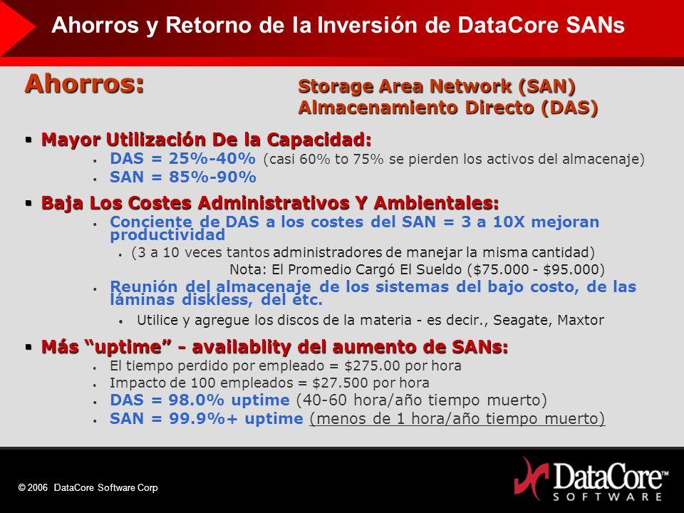 © 2006 DataCore Software Corp Ahorros: Storage Area Network (SAN) Almacenamiento Directo (DAS) Mayor Utilización De la Capacidad: Mayor Utilización De