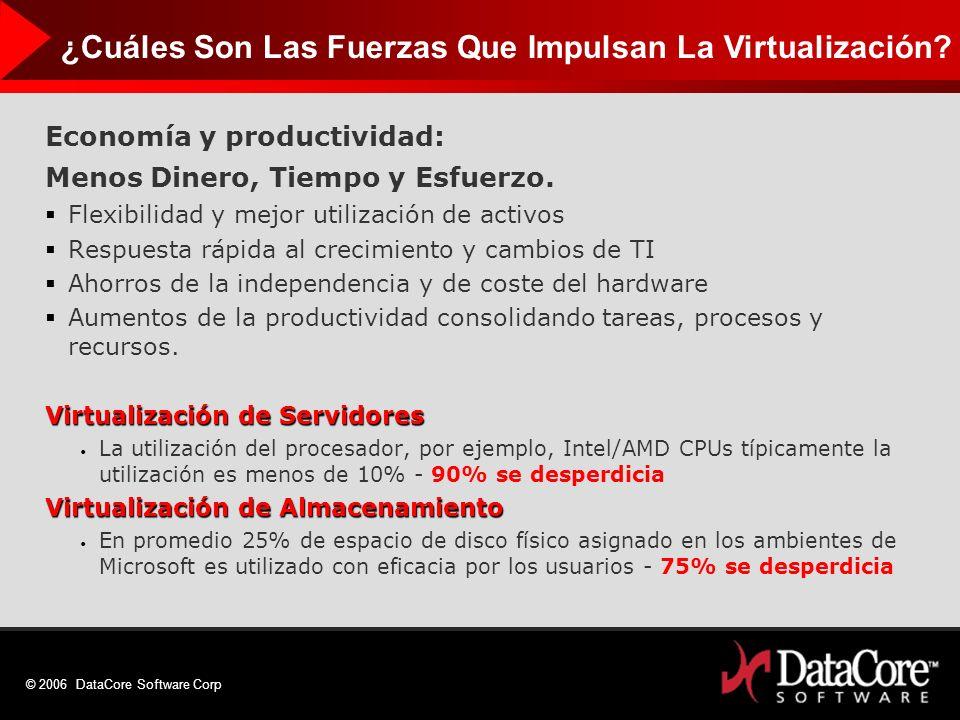 © 2006 DataCore Software Corp Economía y productividad: Menos Dinero, Tiempo y Esfuerzo. Flexibilidad y mejor utilización de activos Respuesta rápida