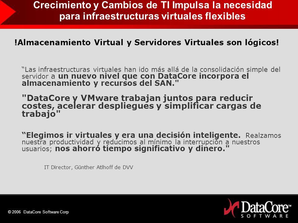 © 2006 DataCore Software Corp !Almacenamiento Virtual y Servidores Virtuales son lógicos! Las infraestructuras virtuales han ido más allá de la consol