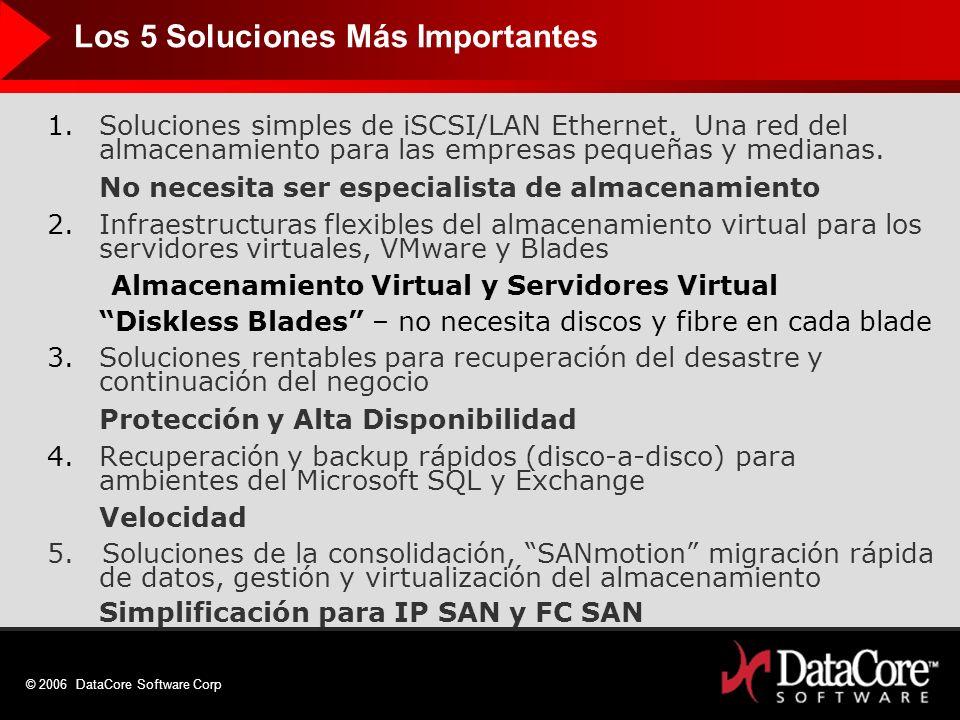 © 2006 DataCore Software Corp Los 5 Soluciones Más Importantes 1.Soluciones simples de iSCSI/LAN Ethernet. Una red del almacenamiento para las empresa