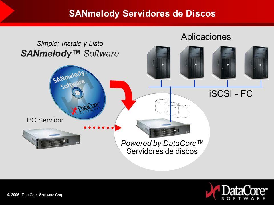 © 2006 DataCore Software Corp Simple: Instale y Listo SANmelody Software PC Servidor Powered by DataCore Servidores de discos iSCSI - FC Aplicaciones