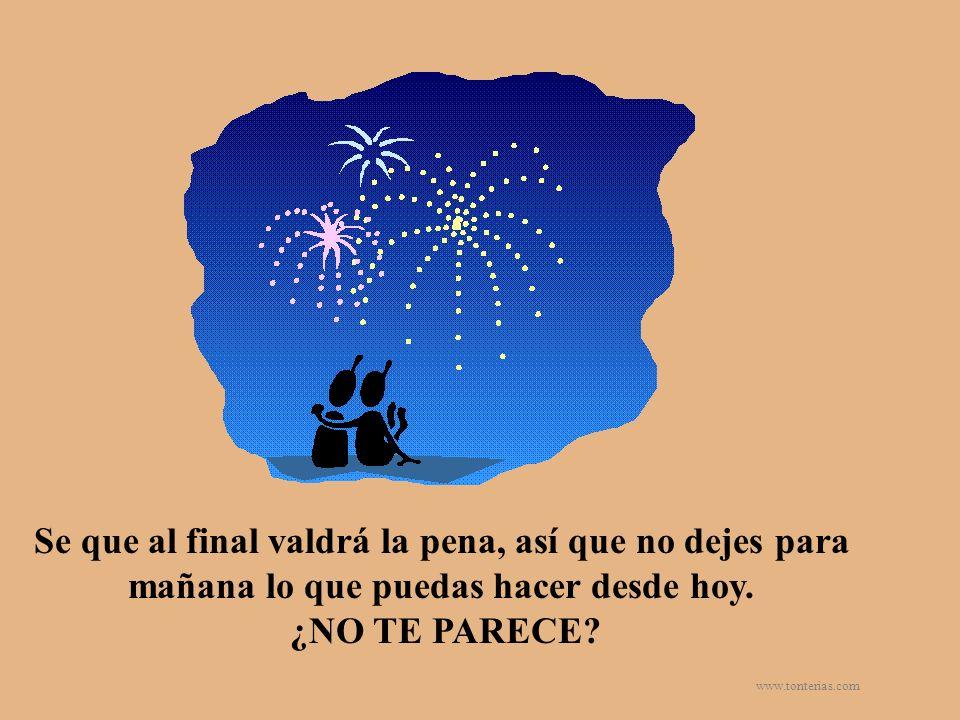 www.tonterias.com Se que al final valdrá la pena, así que no dejes para mañana lo que puedas hacer desde hoy. ¿NO TE PARECE?