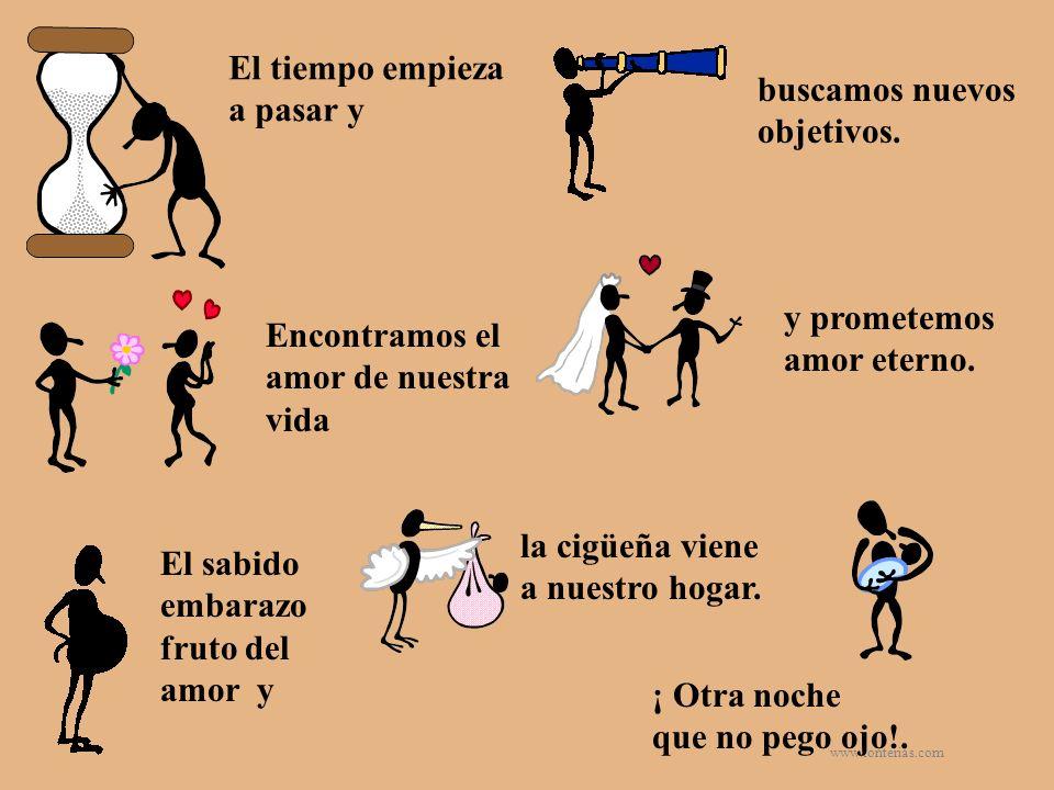 www.tonterias.com El tiempo empieza a pasar y buscamos nuevos objetivos. Encontramos el amor de nuestra vida y prometemos amor eterno. El sabido embar