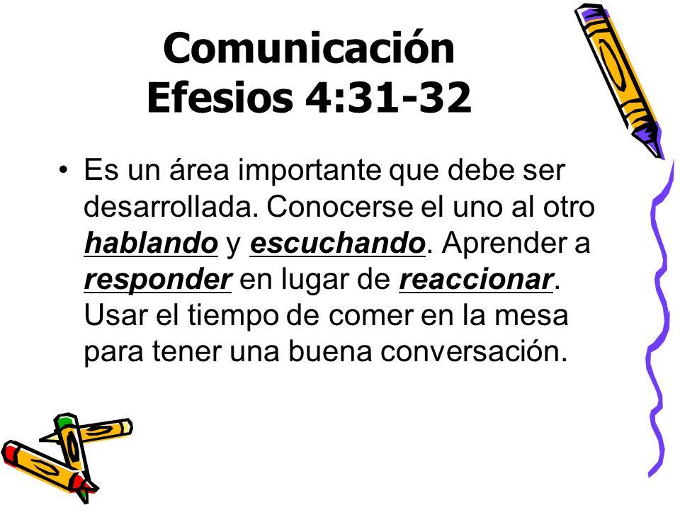 Comunicación Efesios 4:31-32 Es un área importante que debe ser desarrollada. Conocerse el uno al otro hablando y escuchando. Aprender a responder en