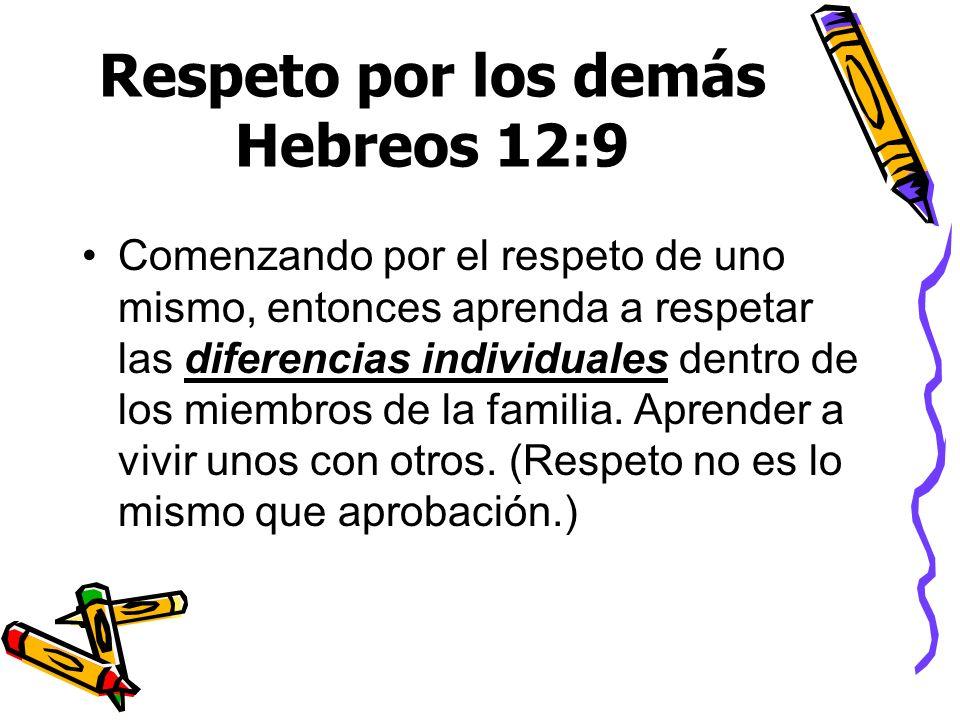 Respeto por los demás Hebreos 12:9 Comenzando por el respeto de uno mismo, entonces aprenda a respetar las diferencias individuales dentro de los miem