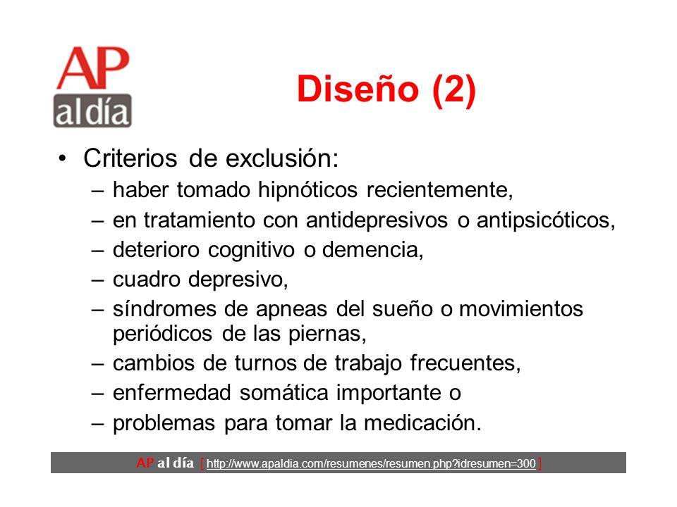 AP al día [ http://www.apaldia.com/resumenes/resumen.php?idresumen=300 ] Diseño (1) Ensayo clínico. Los pacientes se reclutaron mediante anuncios. Cri