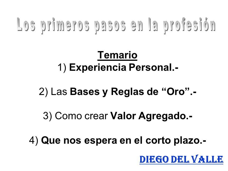Temario 1) Experiencia Personal.- 2) Las Bases y Reglas de Oro.- 3) Como crear Valor Agregado.- 4) Que nos espera en el corto plazo.- Diego del Valle