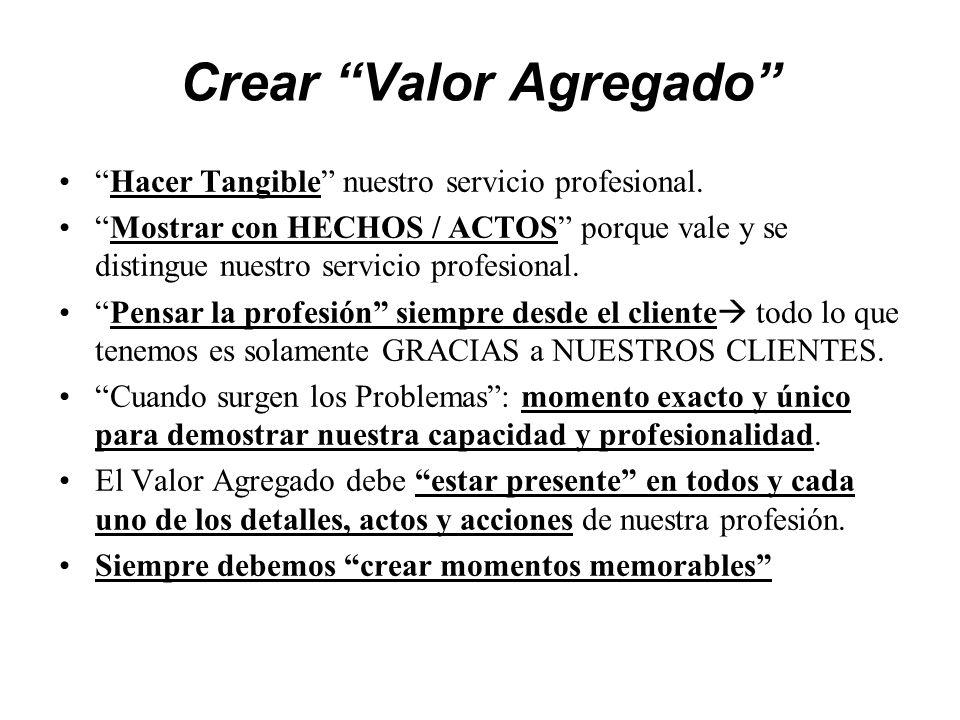 Crear Valor Agregado Hacer Tangible nuestro servicio profesional.