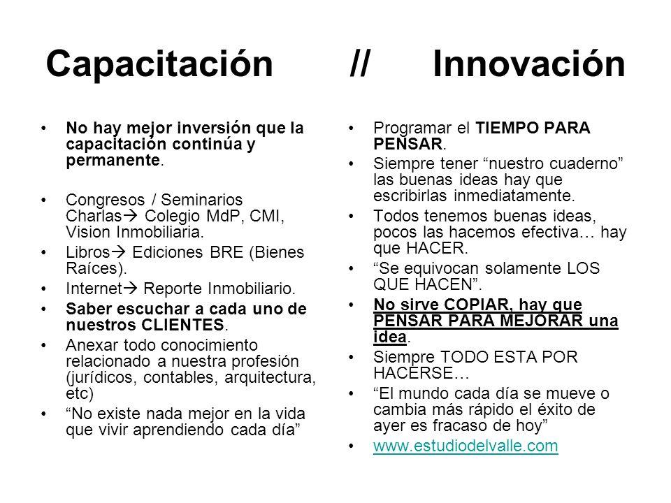 Capacitación // Innovación No hay mejor inversión que la capacitación continúa y permanente.