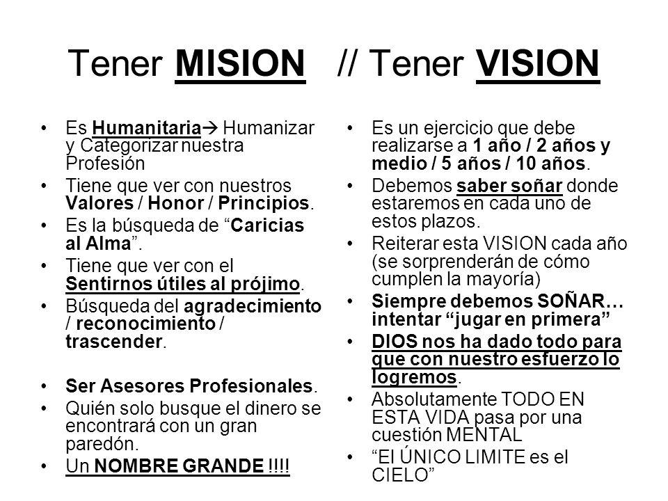 Tener MISION // Tener VISION Es Humanitaria Humanizar y Categorizar nuestra Profesión Tiene que ver con nuestros Valores / Honor / Principios.