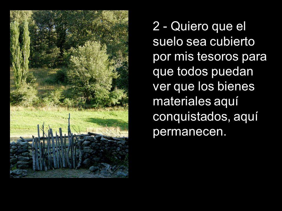 2 - Quiero que el suelo sea cubierto por mis tesoros para que todos puedan ver que los bienes materiales aquí conquistados, aquí permanecen.