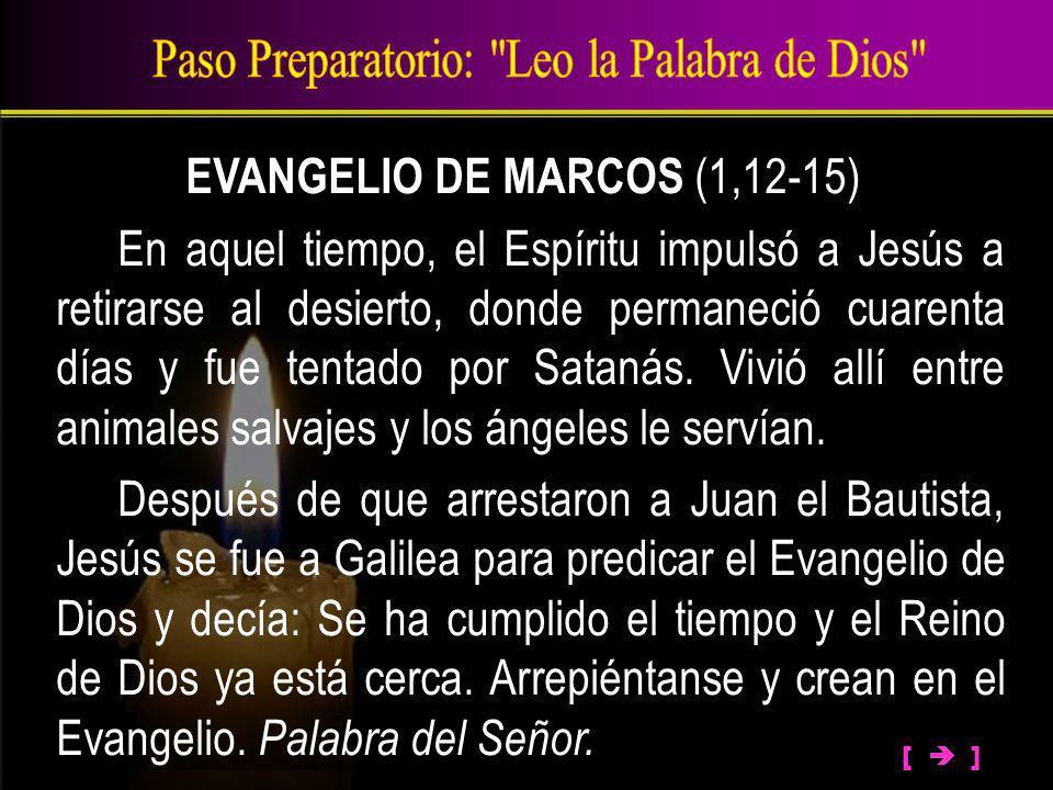 EVANGELIO DE MARCOS (1,12-15) En aquel tiempo, el Espíritu impulsó a Jesús a retirarse al desierto, donde permaneció cuarenta días y fue tentado por S