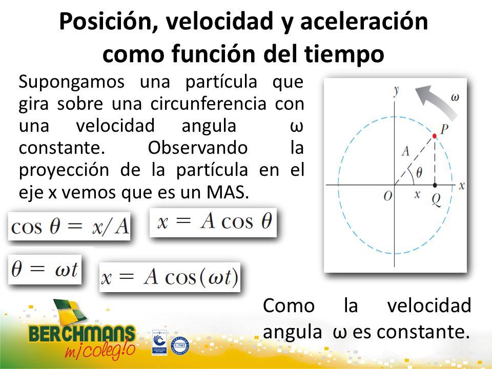 Posición, velocidad y aceleración como función del tiempo Supongamos una partícula que gira sobre una circunferencia con una velocidad angula ω consta
