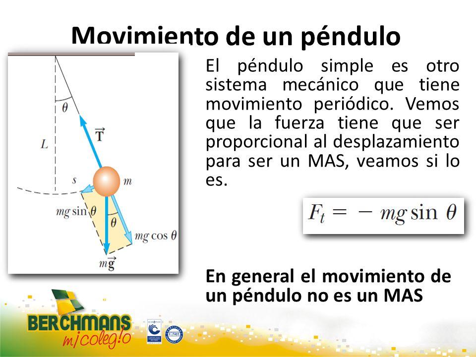 Movimiento de un péndulo El péndulo simple es otro sistema mecánico que tiene movimiento periódico. Vemos que la fuerza tiene que ser proporcional al