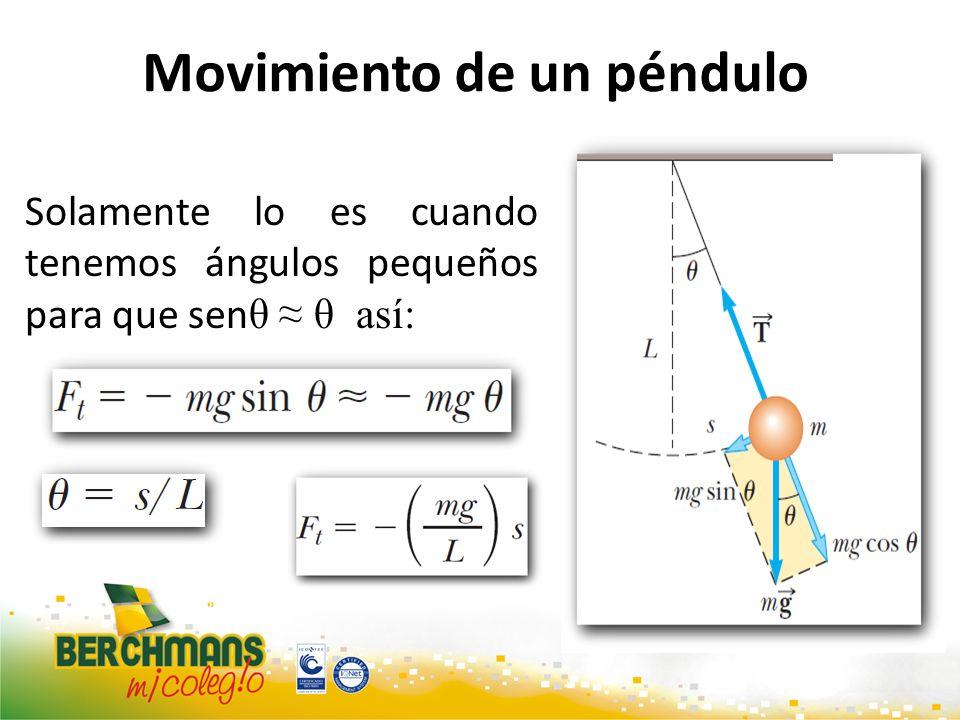 Movimiento de un péndulo Solamente lo es cuando tenemos ángulos pequeños para que sen θ θ así: