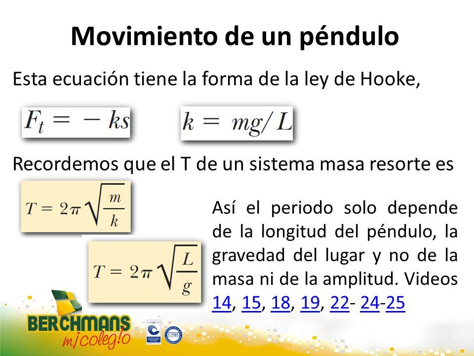 Movimiento de un péndulo Esta ecuación tiene la forma de la ley de Hooke, con Recordemos que el T de un sistema masa resorte es Sustituyendo k tenemos