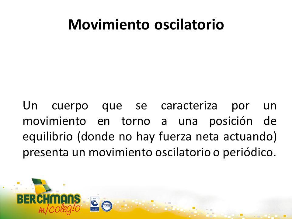 Movimiento oscilatorio Un cuerpo que se caracteriza por un movimiento en torno a una posición de equilibrio (donde no hay fuerza neta actuando) presen