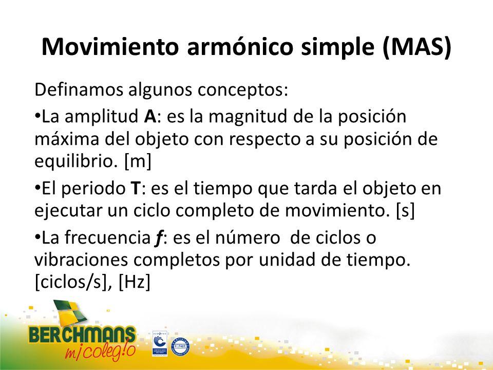 Movimiento armónico simple (MAS) Definamos algunos conceptos: La amplitud A: es la magnitud de la posición máxima del objeto con respecto a su posició