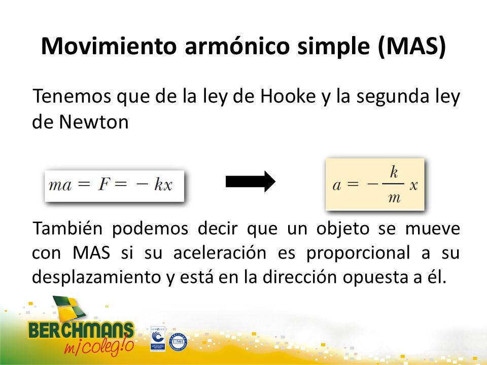 Movimiento armónico simple (MAS) Tenemos que de la ley de Hooke y la segunda ley de Newton También podemos decir que un objeto se mueve con MAS si su