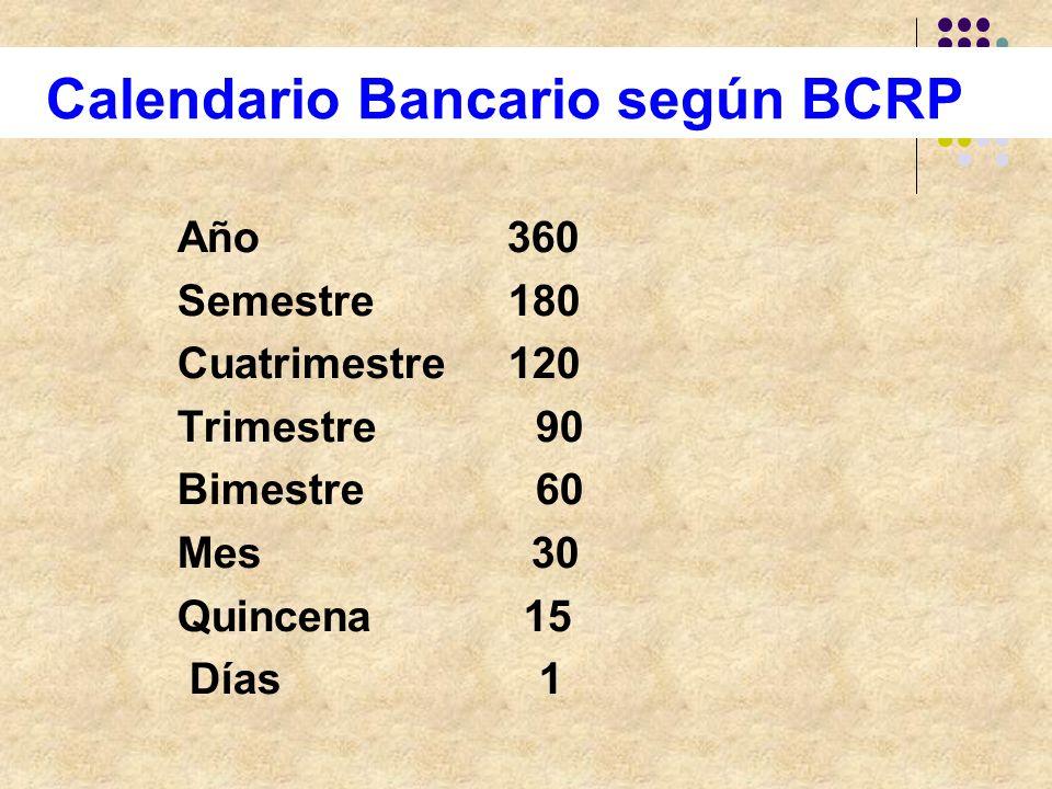 Calendario Bancario según BCRP Año 360 Semestre 180 Cuatrimestre 120 Trimestre 90 Bimestre 60 Mes 30 Quincena 15 Días 1