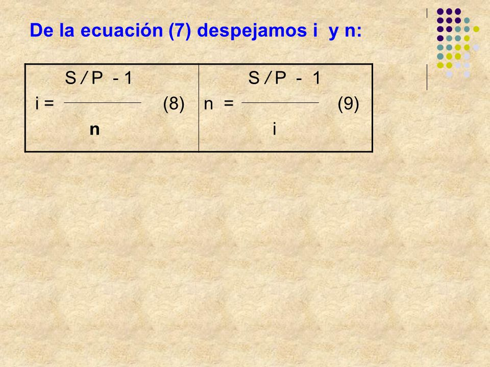 De la ecuación (7) despejamos i y n: S / P - 1 i = (8) n S / P - 1 n = (9) i