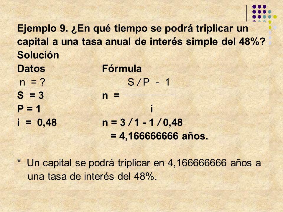 Ejemplo 9. ¿En qué tiempo se podrá triplicar un capital a una tasa anual de interés simple del 48%? Solución Datos Fórmula n = ? S / P - 1 S = 3n = P