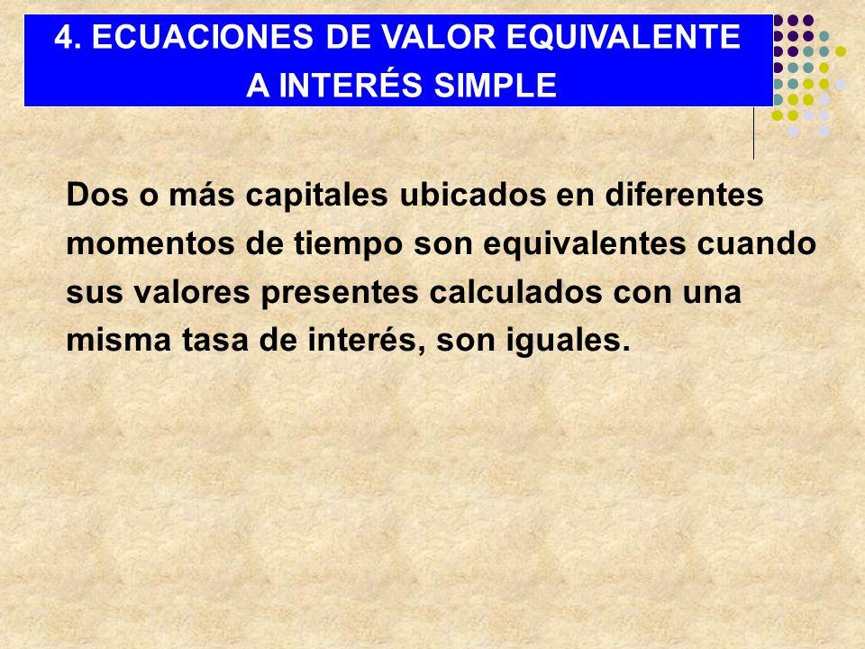 Dos o más capitales ubicados en diferentes momentos de tiempo son equivalentes cuando sus valores presentes calculados con una misma tasa de interés,