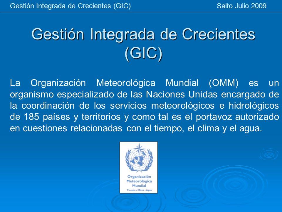 Gestión Integrada de Crecientes (GIC) Gestión Integrada de Crecientes (GIC) Salto Julio 2009 La Organización Meteorológica Mundial (OMM) es un organis