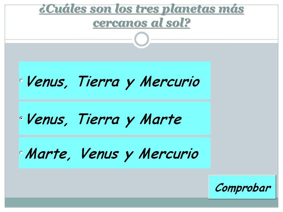 ¿Cuáles son los tres planetas más cercanos al sol?