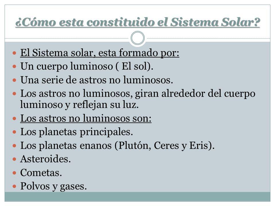 ¿Cómo esta constituido el Sistema Solar? El Sistema solar, esta formado por: Un cuerpo luminoso ( El sol). Una serie de astros no luminosos. Los astro