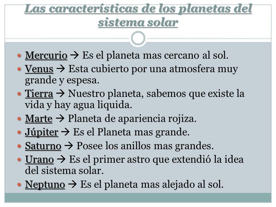 Las características de los planetas del sistema solar Mercurio Mercurio Es el planeta mas cercano al sol. Venus Venus Esta cubierto por una atmosfera