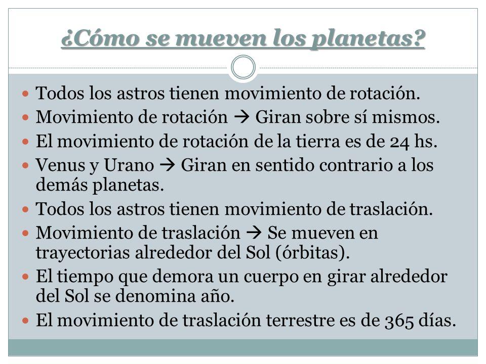 ¿Cómo se mueven los planetas? Todos los astros tienen movimiento de rotación. Movimiento de rotación Giran sobre sí mismos. El movimiento de rotación