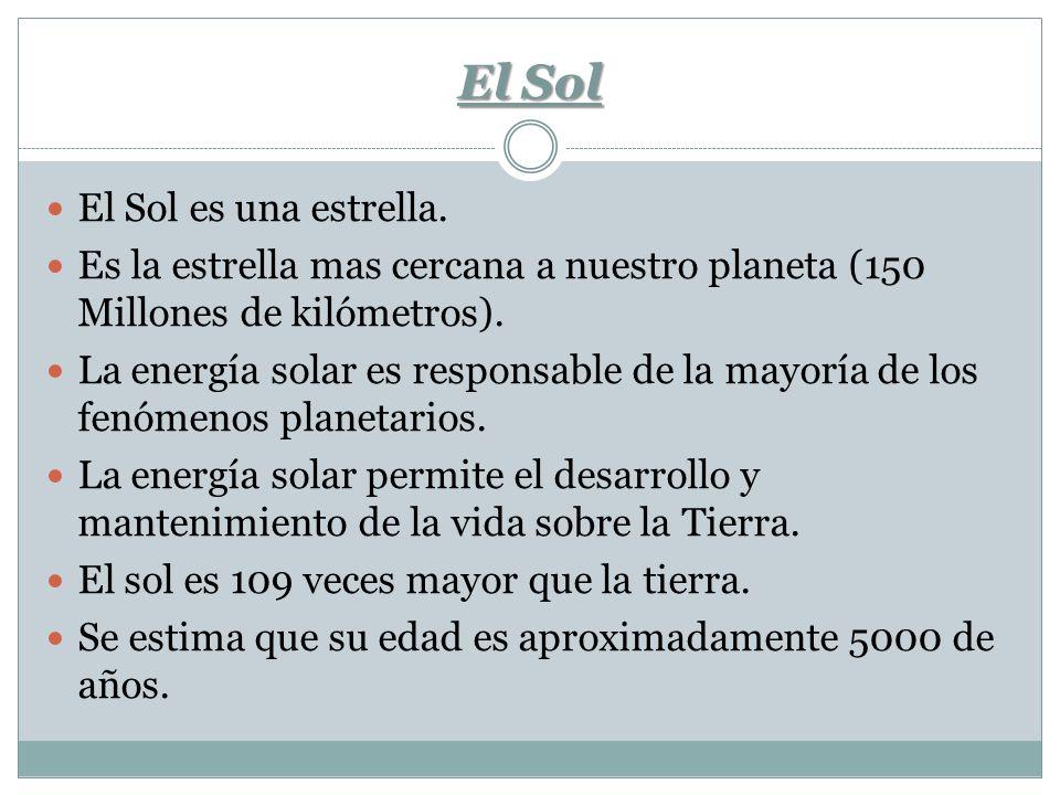 El Sol El Sol es una estrella. Es la estrella mas cercana a nuestro planeta (150 Millones de kilómetros). La energía solar es responsable de la mayorí