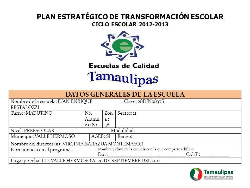 PLAN ESTRATÉGICO DE TRANSFORMACIÓN ESCOLAR CICLO ESCOLAR 2012-2013 DATOS GENERALES DE LA ESCUELA Nombre de la escuela: JUAN ENRIQUE PESTALOZZI Clave: