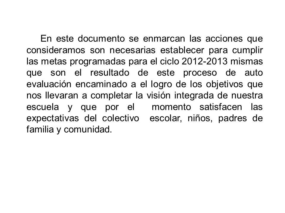 En este documento se enmarcan las acciones que consideramos son necesarias establecer para cumplir las metas programadas para el ciclo 2012-2013 misma