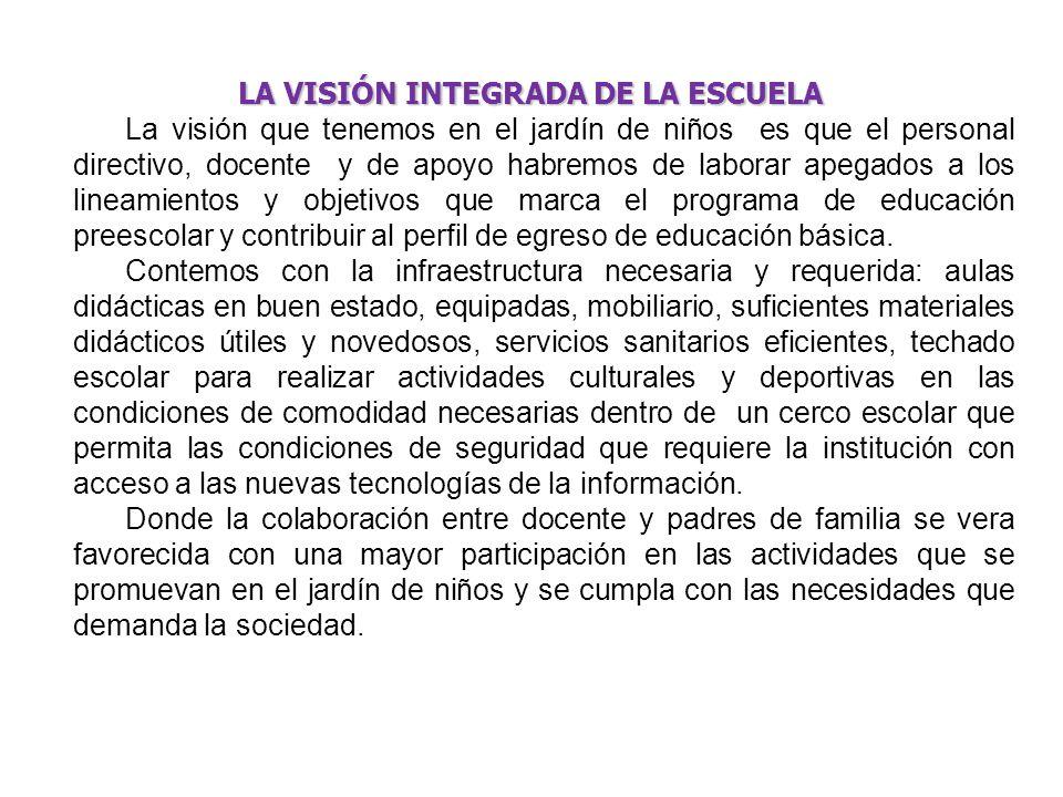 LA VISIÓN INTEGRADA DE LA ESCUELA LA VISIÓN INTEGRADA DE LA ESCUELA La visión que tenemos en el jardín de niños es que el personal directivo, docente