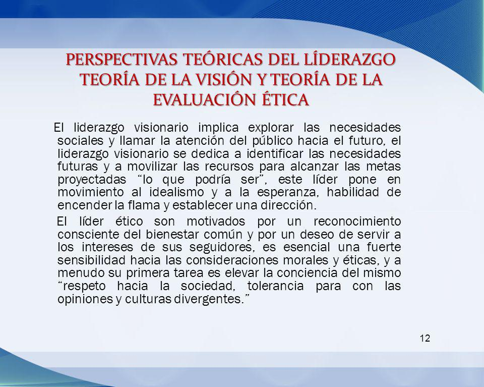 PERSPECTIVAS TEÓRICAS DEL LÍDERAZGO TEORÍA DE LA VISIÓN Y TEORÍA DE LA EVALUACIÓN ÉTICA 12 El liderazgo visionario implica explorar las necesidades so