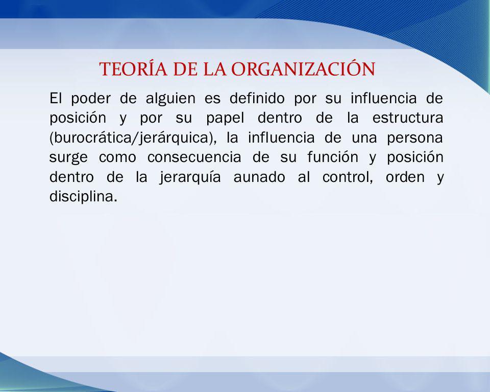 TEORÍA DE LA ORGANIZACIÓN El poder de alguien es definido por su influencia de posición y por su papel dentro de la estructura (burocrática/jerárquica