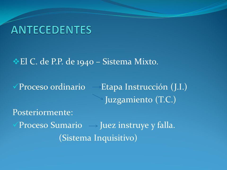 El C.P.P.de 1991 Sistema Acusatorio Garantista (Vigencia parcial) Proyecto del C.P.P.